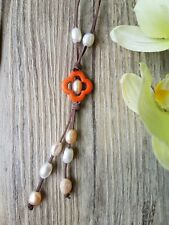 Kangaroo Leather Neckalce featuring Freshwater Pearls and Howlite Flower Bead.