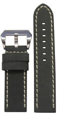 22mm Panatime Mustang 2 Grey Leather Watch Band w/White Stitching 125/75 22/22