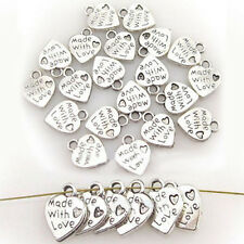 "Lot 100 Silver Tibet Plated MADE WITH LOVE Heart Charms 0.35"" Pendants Beads DIY"