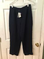 PETITE SOPHISTICATE WOMEN'S NAVY BLUE LINED SIDE ZIP PANTS SIZE 10P NWT $54