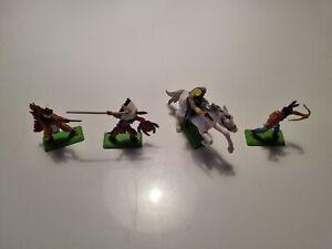 Britains Deetail Figuren, 4 Stück, 3 Indianer , 1 Reiter mit Pferd