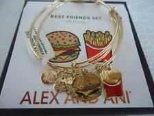 Alex and Ani Hamburger and Fry Set of 2 Shiny Gold Charm Bangle Bracelet