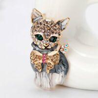 Fashion Crystal Cat Animal Brooch Breastpin Lapel Collar Pin Women Jewelry Gift