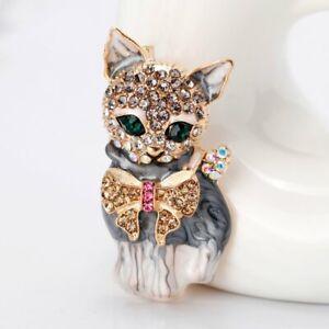 Fashion Crystal Cat Animal Brooch Breastpin Lapel Collar Pin Women Jewelry Gift