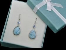 Larimar AAA Natural 10X14mm Premium Quality 925 Sterling Silver dangle Earrings