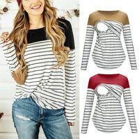 Fashion Women Maternity Nursing Long Sleeve Tops Stripe Splice Tee Shirt Blouse
