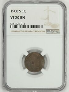 1908-S Indian Head Small Cent NGC VF 20 BN JO/1159