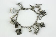 Vintage Sterling Silver Mixed Lot Charm Bracelet 49.2 Grams