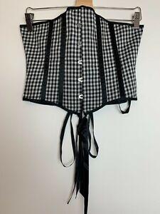 Black & White Vintage 90s 00s Y2K Female Sleeveless Checked Corset Top Size L