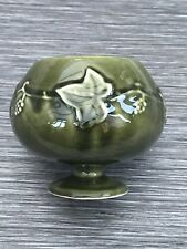 Dartmouth Pottery 240 Vintage Footed Vase / Bowl With Grape Vine Sage Green