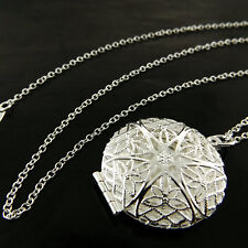 NECKLACE CHAIN REAL 925 STERLING SILVER S/F FILIGREE ANTIQUE LOCKET DESIGN