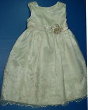 Heirlooms Polly Flinders Cream Sleeveless Lined Dress Stitched Overlay Skirt 4T