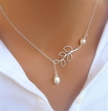 Fashion Womens Silver Branch Leaves Pearl Charm Chain Simple Necklace Pendant
