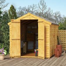 8x6 Overlap Wooden Shed Windowless Double Door Apex Roof & Felt Garden Shed