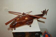 GRANDE MAQUETTE BUREAU  EN BOIS ACAJOU  HELICOPETRE SUPER PUMA AS 330  52 CM