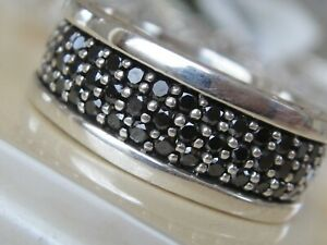 $2950 DAVID YURMAN SS STREAMLINE MENS BLACK DIAMONDS RING