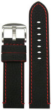 26mm Panatime Black Crushed Leather Grain Watch Band w Red Stitching & Siding