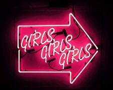 "New Girls Girls Girls Arrow Acrylic Back Neon Light Sign 17""x13"""