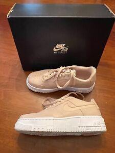 EX NIKE AIR FORCE 1 PIXEL PARTICLE BEIGE lace up PLATFORM sneaker Womens 9.5