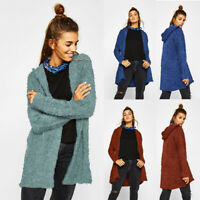 Women's Long Sleeve Knitted Fluffy Hooded Cardigan Sweater Outwear Coat Jacket