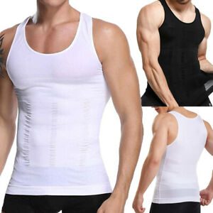 Mens Slimming Body Shaper Vest Moobs Chest Compression T-Shirt Tank Top Workout