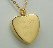 ALWAYS WITH YOU HEART URN NECKLACE GOLD CREMATION JEWELRY KEEPSAKE MEMORIAL URN