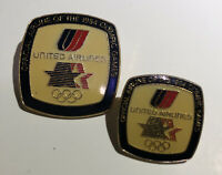 Pair United Airlines 1984 Olympic Pins Los Angeles Summer Games - Small & Large