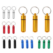3x Aluminum Tablet Pill Medicine Case Box Organizer Holder Keychain Key Ring