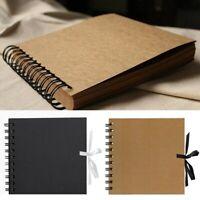 6x6 Spiral Photo Memory Scrapbook Album Wedding Guest Book Journal BLACK / KRAFT
