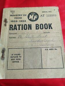 Vintage Post WWII Ministry Of Food Ration Book Sunderland 1953-54 Used