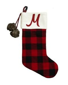 """New!!! Rustic Buffalo Plaid Monogrammed """"M"""" Christmas Stocking Primitive Country"""