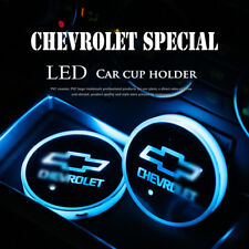 2× Colorful LED Car Cup Holder Pad Mat For Chevrolet Interior Atmosphere Lights