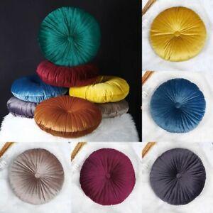 Round Velvet Throw Pillow Pumpkin Chair Sofa Seat Backrest Cushion Bedroom Decor