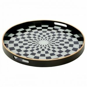 Circular Black Serving Tray With Black and White Checkered Design - Large