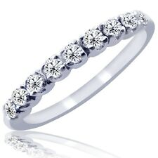 Pave Set H-SI 0.25 Carat Diamond Wedding Anniversary Band Ring 10k White Gold