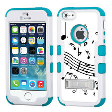3-Layer Hybrid Case (White/Teal/Stand) for Apple iPhone 5 5s -Music Notes /White