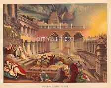King Belshazzar's Feast-Writing On The Wall-1890 ANTIQUE VINTAGE COLOR ART PRINT