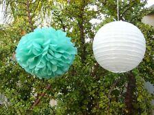 12x 30cm Darkmint tissue pom & white lantern wedding baby shower birthday decor