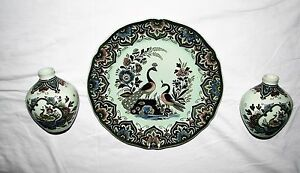 3 ps PAON SET Villeroy & Boch VASE & WALL PLATE  hand painted PEACOCK