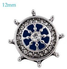 Blue Ship Wheel Rhinestone 12mm Mini Petite Snap Charm Jewelry For Ginger Snaps