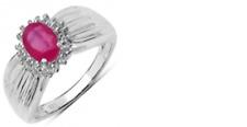 Anillo De Plata 925 con relleno de vidrio Ruby Ovalado 7x5mm, Blanco Topacio Redondo 1.00m