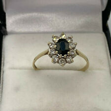 9ct Gold Hallmarked Sapphire & Cubic Zirconia Cluster Ring. Goldmine Jewellers.