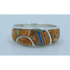 UNISEX 925 Sterling Silver Natural Orange Spiney Oyster Opal Inlay Ring Size 8.5