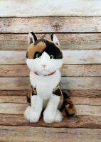 "FAO Schwarz Calico Kitty Cat Plush Stuffed Animal 11"" 2015 Toys R Us Red Collar"