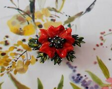 Small RED POPPY BROOCH Floral REMEMBRANCE Lapel Flower Pin HANDMADE HANDPAINTED