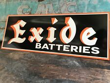 Antique Vintage Old Style Exide Batteries Service Station Sign