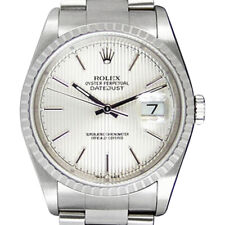 ROLEX 36mm Stainless DateJust Silver Tapestery Dial NO HOLES 16220 SANT BLANC
