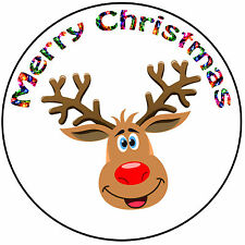 "Christmas Cake Topper Reindeer Rudolph - Precut Round 8"" (20cm) Icing Decoration"