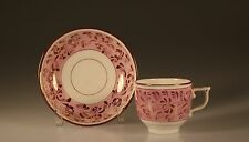 Early Pink Lustreware Handpainted Flowers and Vines Teacup and Saucer, c. 1820s