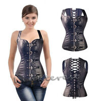 Steampunk Gothic Black Faux Leather Corset Women Top Steel Boned Strap Basque UK